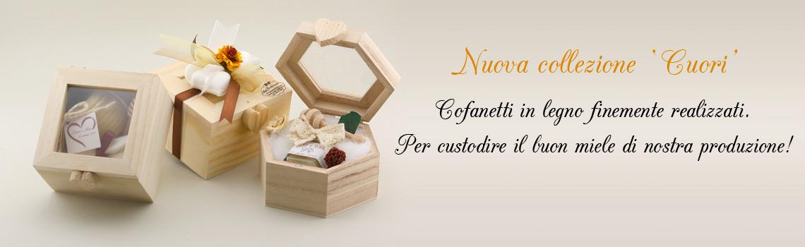 Tris Cofanetti in legno con miele